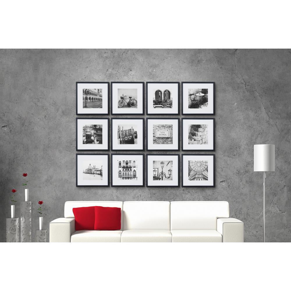 pinnacle gallery perfect 8 in x 8 in black collage picture frame set 16fw2233 the home depot. Black Bedroom Furniture Sets. Home Design Ideas