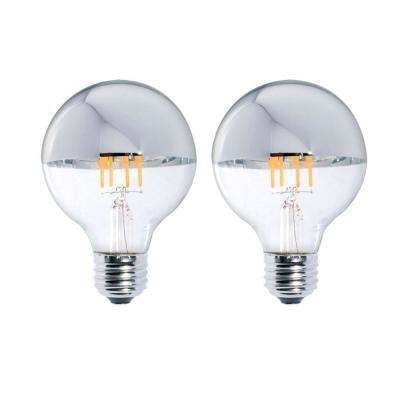 40W Equivalent Warm White Light G25 Dimmable LED Half Chrome Light Bulb (2-Pack)