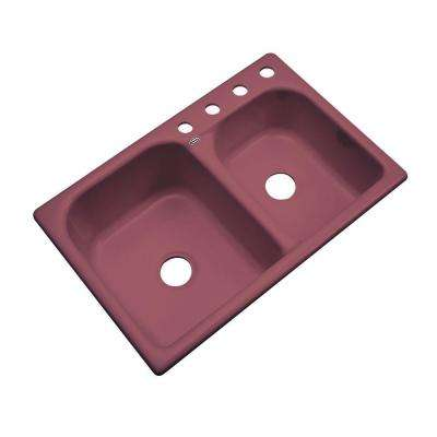 Cambridge Drop-In Acrylic 33 in. 4-Hole Double Bowl Kitchen Sink in Raspberry Puree