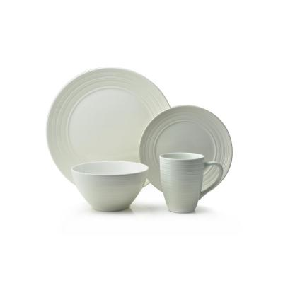 Ripple 16-Piece Casual Off white Ceramic Dinnerware Set (Service for 4)