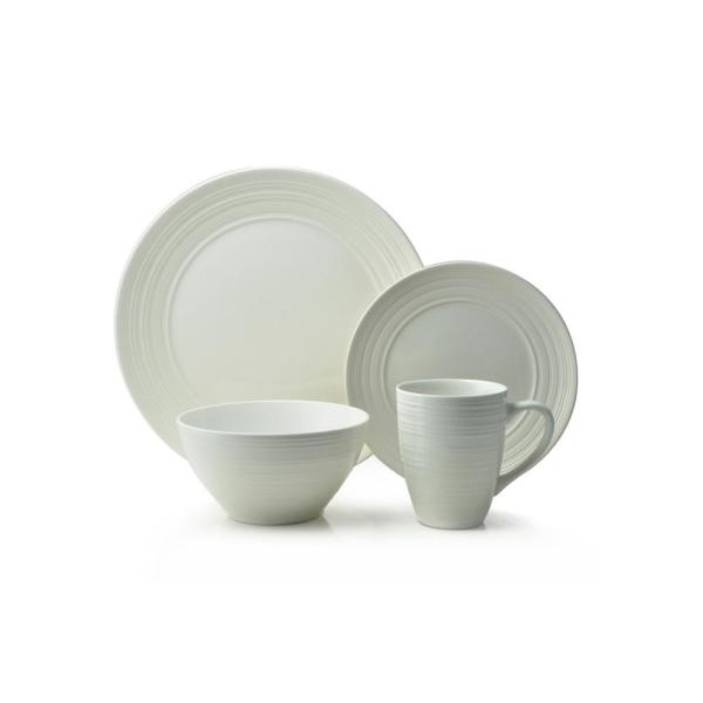 Ripple 16-Piece Casual Off white Ceramic Dinnerware Set (Service for 4)