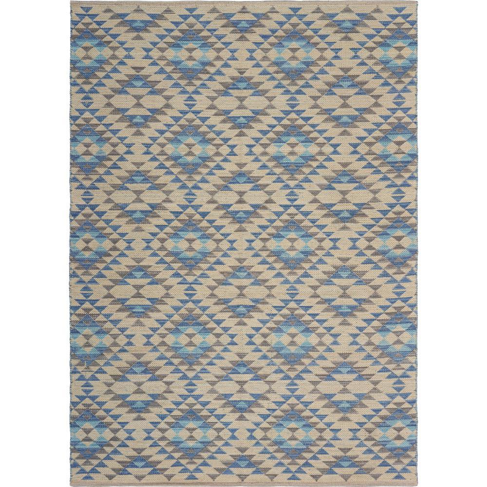 Aurora Blue/Cream 5 ft. x 7 ft. Southwest Geometric Trellis Area Rug