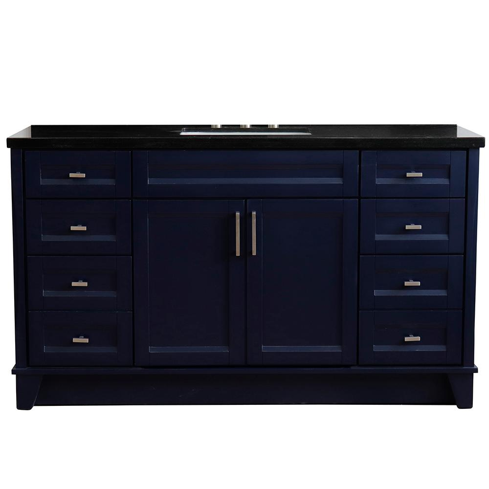 Bellaterra Home 61 in. W x 22 in. D Single Bath Vanity in Blue with Granite Vanity Top in Black Galaxy with White Rectangle Basin