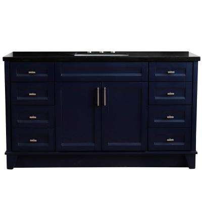 61 in. W x 22 in. D Single Bath Vanity in Blue with Granite Vanity Top in Black Galaxy with White Rectangle Basin