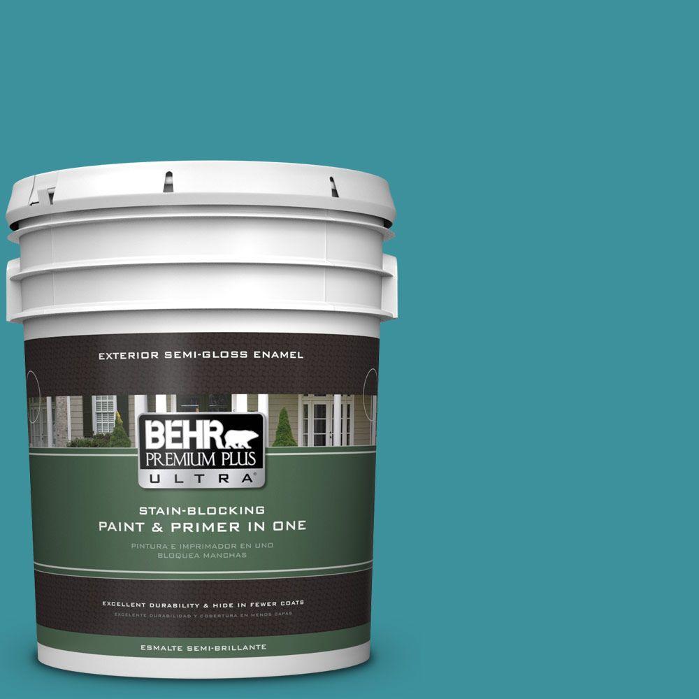 BEHR Premium Plus Ultra 5-gal. #520D-6 Lagoon Semi-Gloss Enamel Exterior Paint