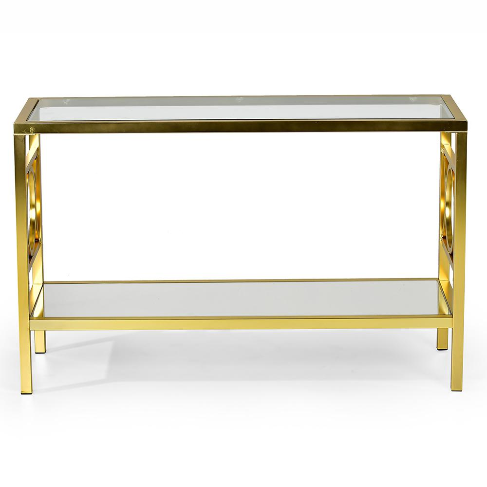Olympia Glass And Gold Chrome Sofa Table Ol100sg The Home Depot