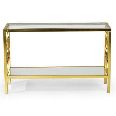 Olympia Glass and Gold Chrome Sofa Table