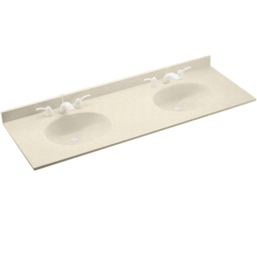 Swanstone Chesapeake 61 in. W Solid Surface Double Basin Vanity Top in Pebble with Pebble Basin