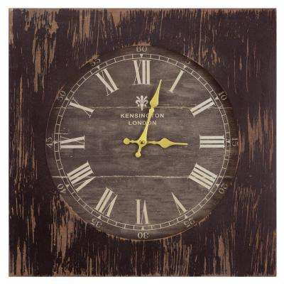 19 in. Square MDF Wall Clock in Distressed Black Wooden Frame