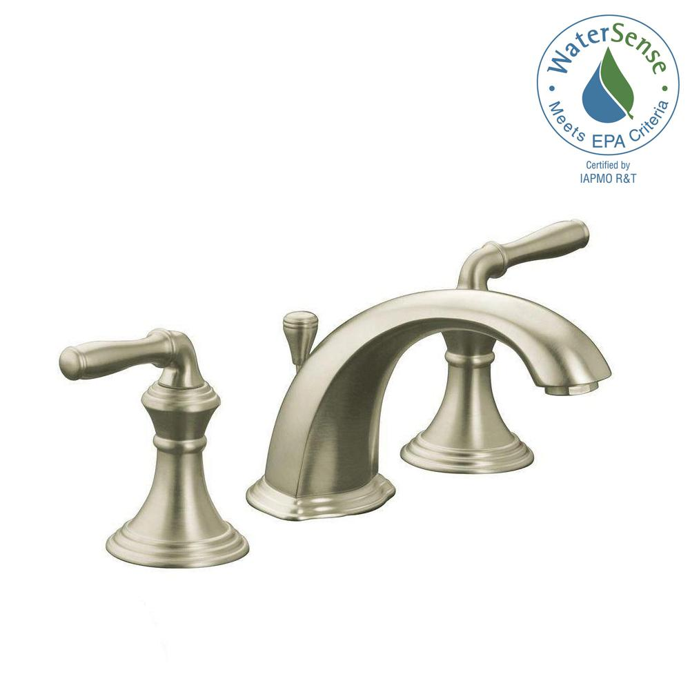 KOHLER Devonshire In Widespread Handle Low Arc Bathroom Faucet - Kohler devonshire bathroom faucet brushed nickel