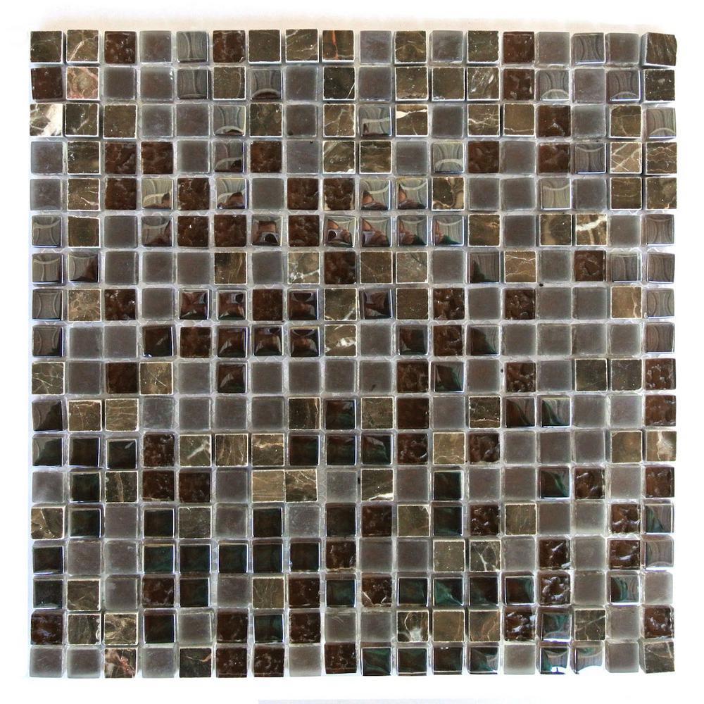 Quartz Cioccolato Brown 11.7 in. x 11.7 in. Glass and Stone Mosaic Wall Tile (1 Sq. ft.)