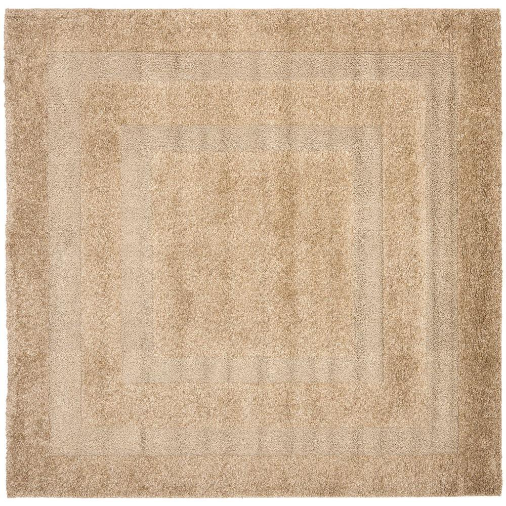 Florida Shag Beige 5 ft. x 5 ft. Square Area Rug