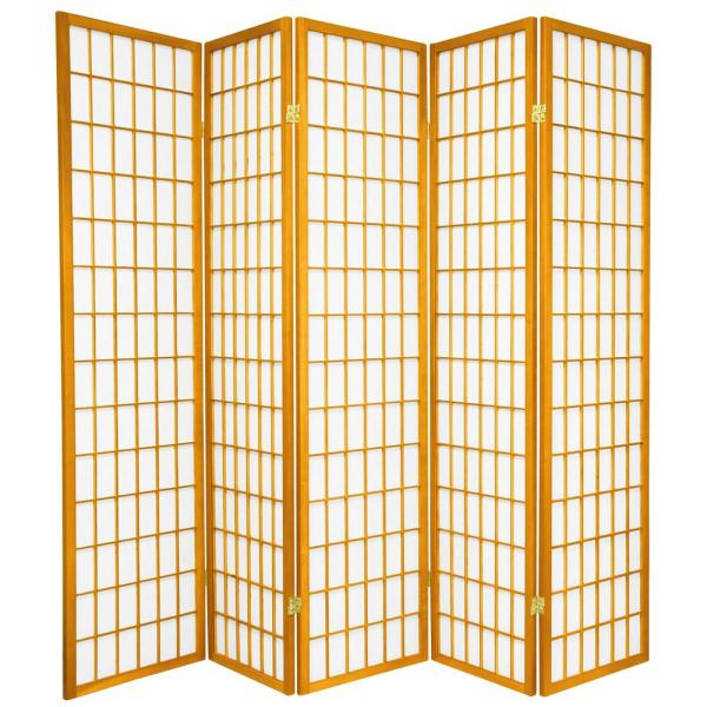 Oriental Furniture 6 ft. Honey 5-Panel Room Divider CWP-5P-HON
