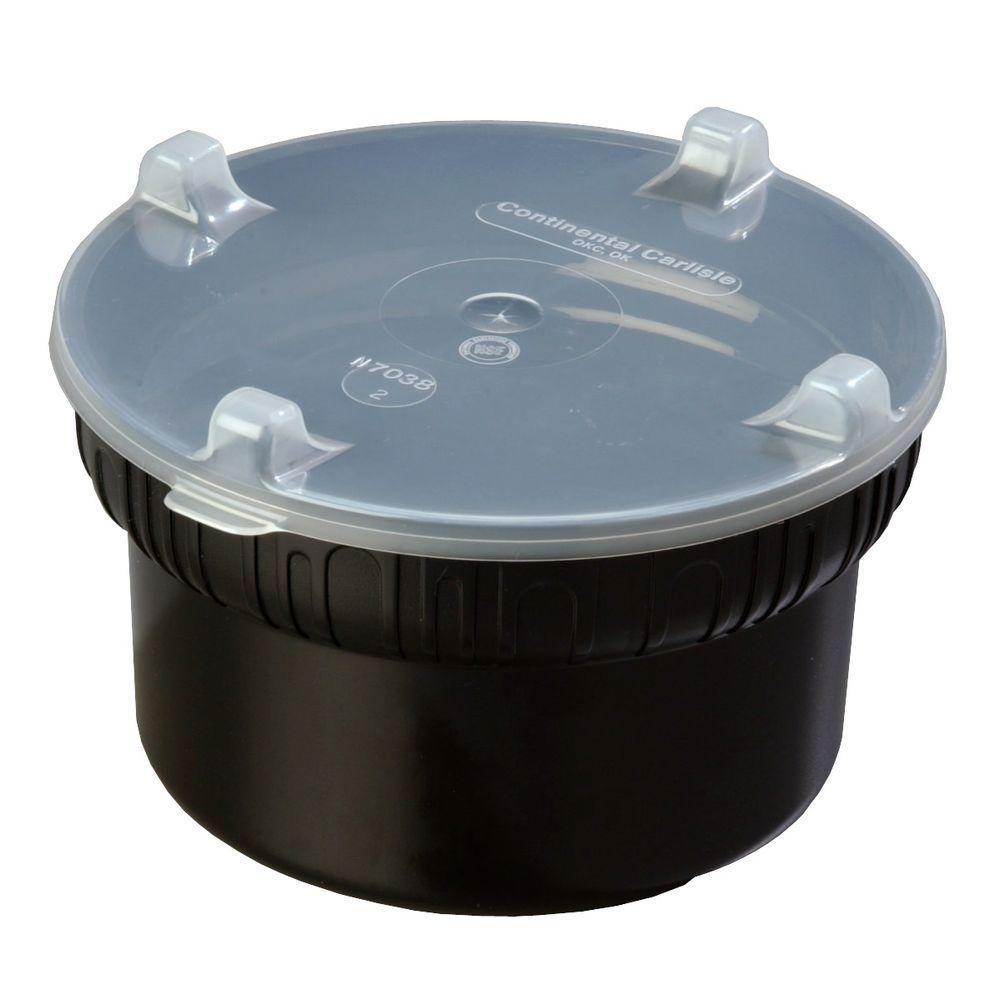 1.90 qt., 7.12 in. Diameter Polycarbonate Gourmet Crock with Lid in Black (Case of 6)