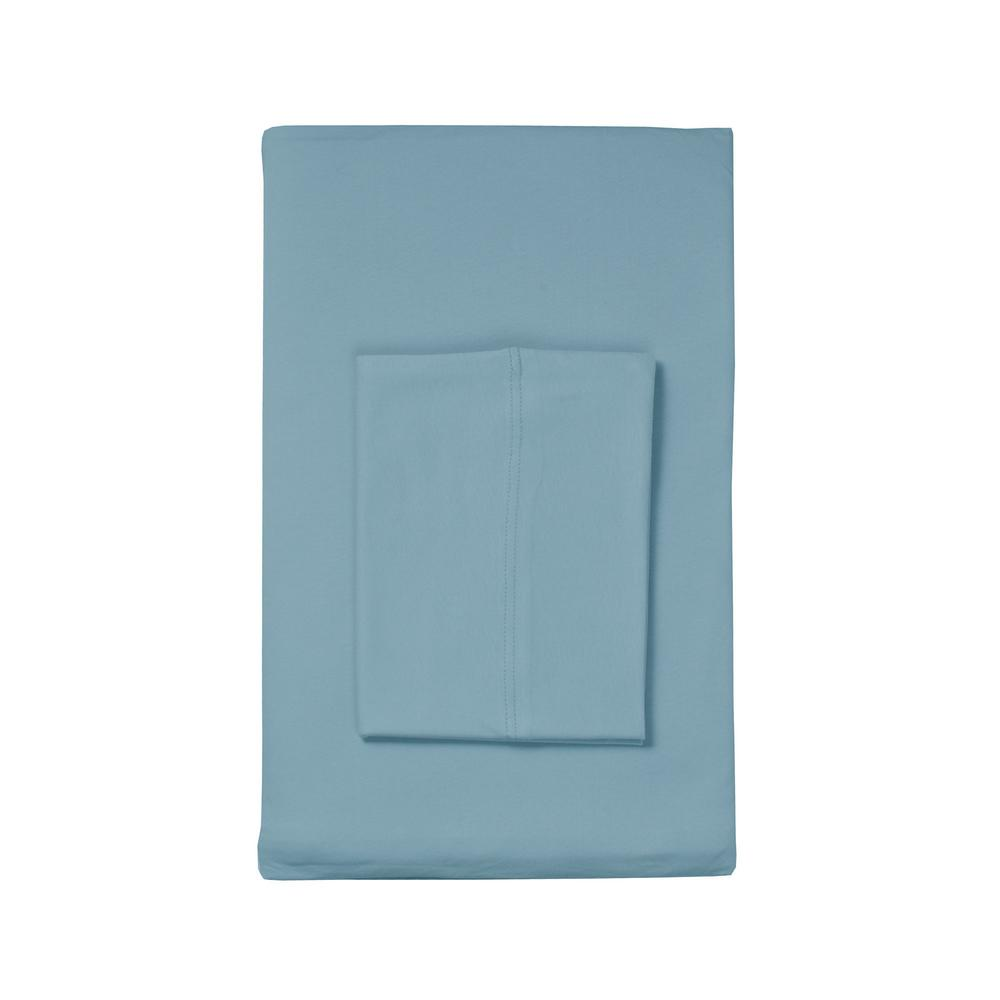 TheCompanyStore The Company Store Organic Cotton Jersey Knit Blue Water Solid Queen Fitted Sheet