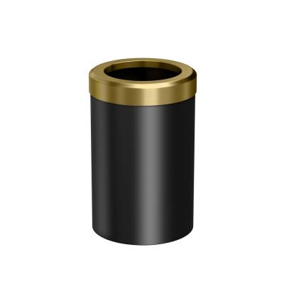 Modern Waster Can Round in Matte Black Brushed Brass Combo