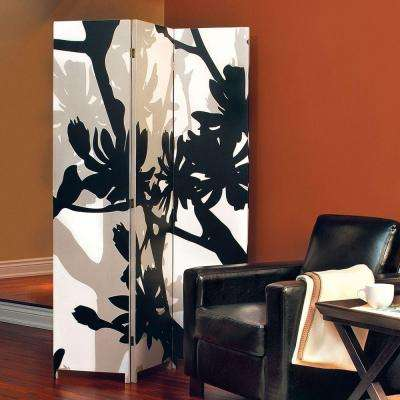 Bota 5.92 ft. Black and Taupe 3-Panel Room Divider