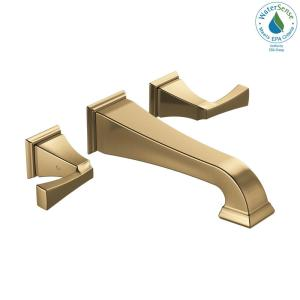 Dryden 2-Handle Wall Mount Bathroom Faucet Trim Kit in Champagne Bronze [Valve Not Included]