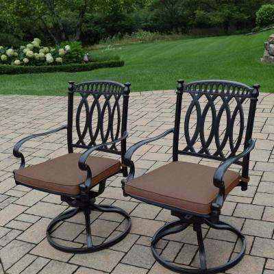 Morocco Aluminum Outdoor Rocking Chair with Sunbrella Brown Cushions (2-Pack)