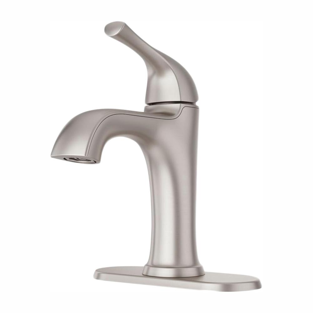 Pfister Ladera Single Hole Single Handle Bathroom Faucet In Spot Defense Brushed Nickel Lf 042 Lrgs The Home Depot