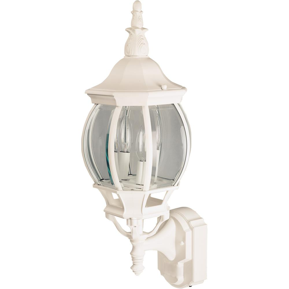 Hampton bay 1 light white motion activated outdoor wall mount lantern