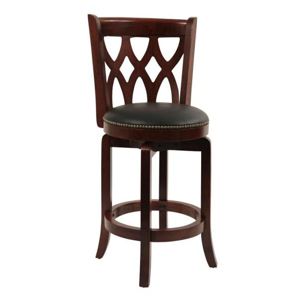 Boraam Cathedral 24 in. Cherry Swivel Cushioned Bar Stool 40324
