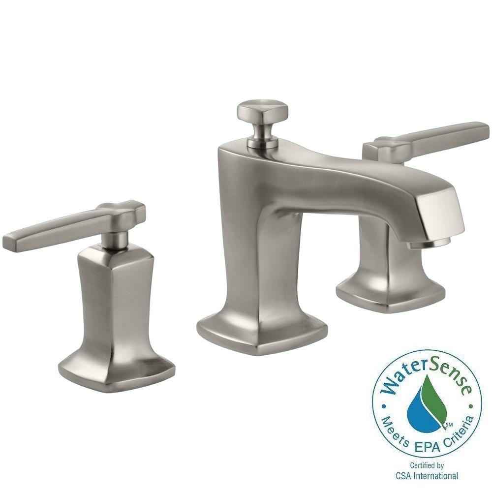 Margaux 8 in. Widespread 2-Handle Low-Arc Water-Saving Bathroom Faucet in Vibrant Brushed Nickel