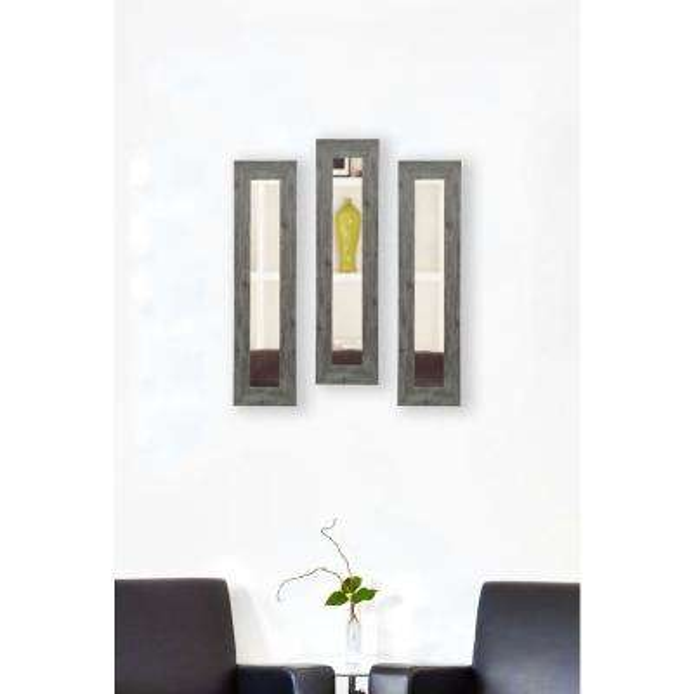 9.5 in. x 21.5 in. Gray Barnwood Vanity Mirror (Set of 3-Panels)
