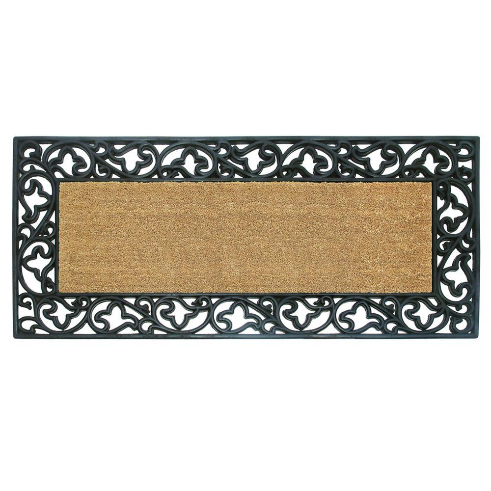 Nedia Home Wrought Iron With Coir Insert And Acanthus Border 22 In