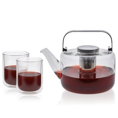 Bjorn 5.5-Cup 3-Piece Glass Teapot and Classic Double Walled Glass Drinkware Set