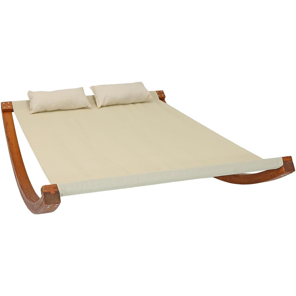 Sunnydaze Decor 2 Person Natural Wood Outdoor Chaise Lounge