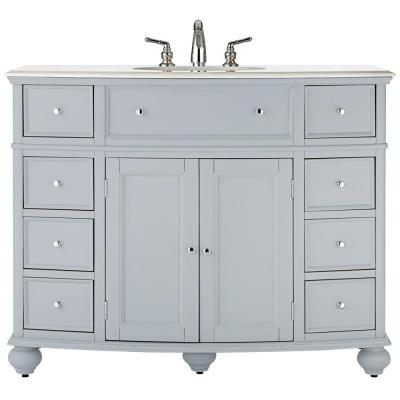 Hampton Harbor 45 in. W x 22 in. D Bath Vanity in Dove Grey with Natural Marble Vanity Top in White
