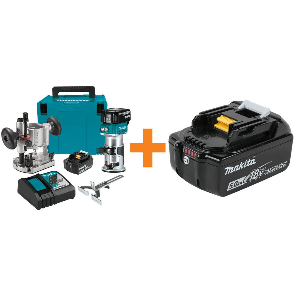 Makita 5.0 Ah 18-Volt LXT Lithium-Ion Brushless Cordless Compact Router Kit with Bonus Battery 5.0 AH