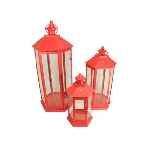 27 In Red Traditional Style Pillar Candle Holder Lanterns Set Of 3