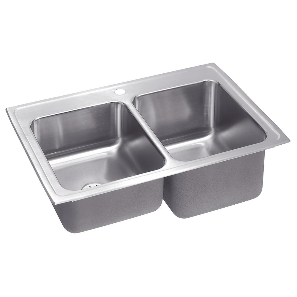 Elkay Lustertone Drop-In Stainless Steel 33 in. 1-Hole Double Bowl ...