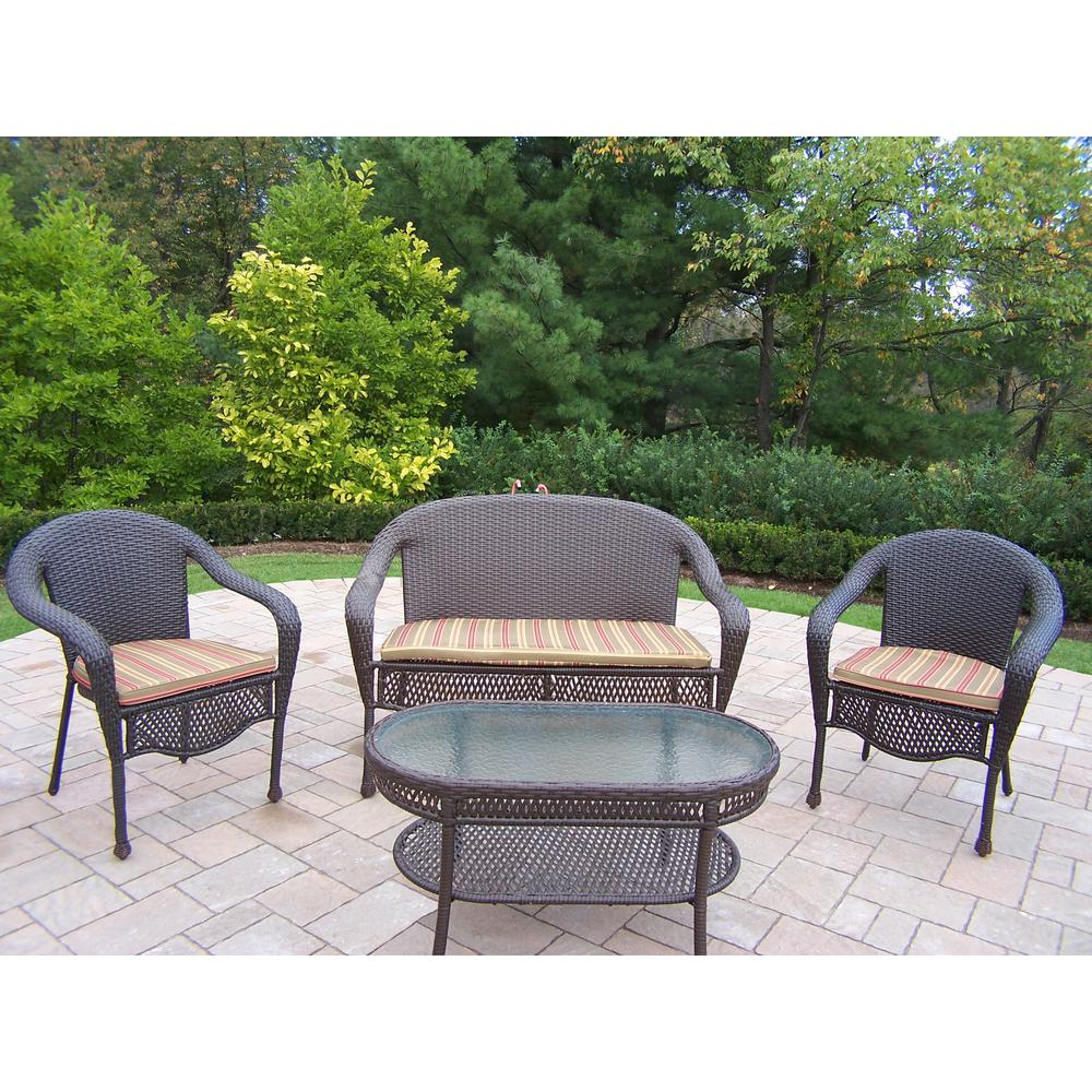 4-Piece Wicker Patio Conversation Set with Green Stripe Cushions