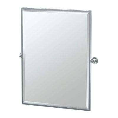 Max 28 in. x 33 in. Framed Single Large Rectangle Mirror in Chrome