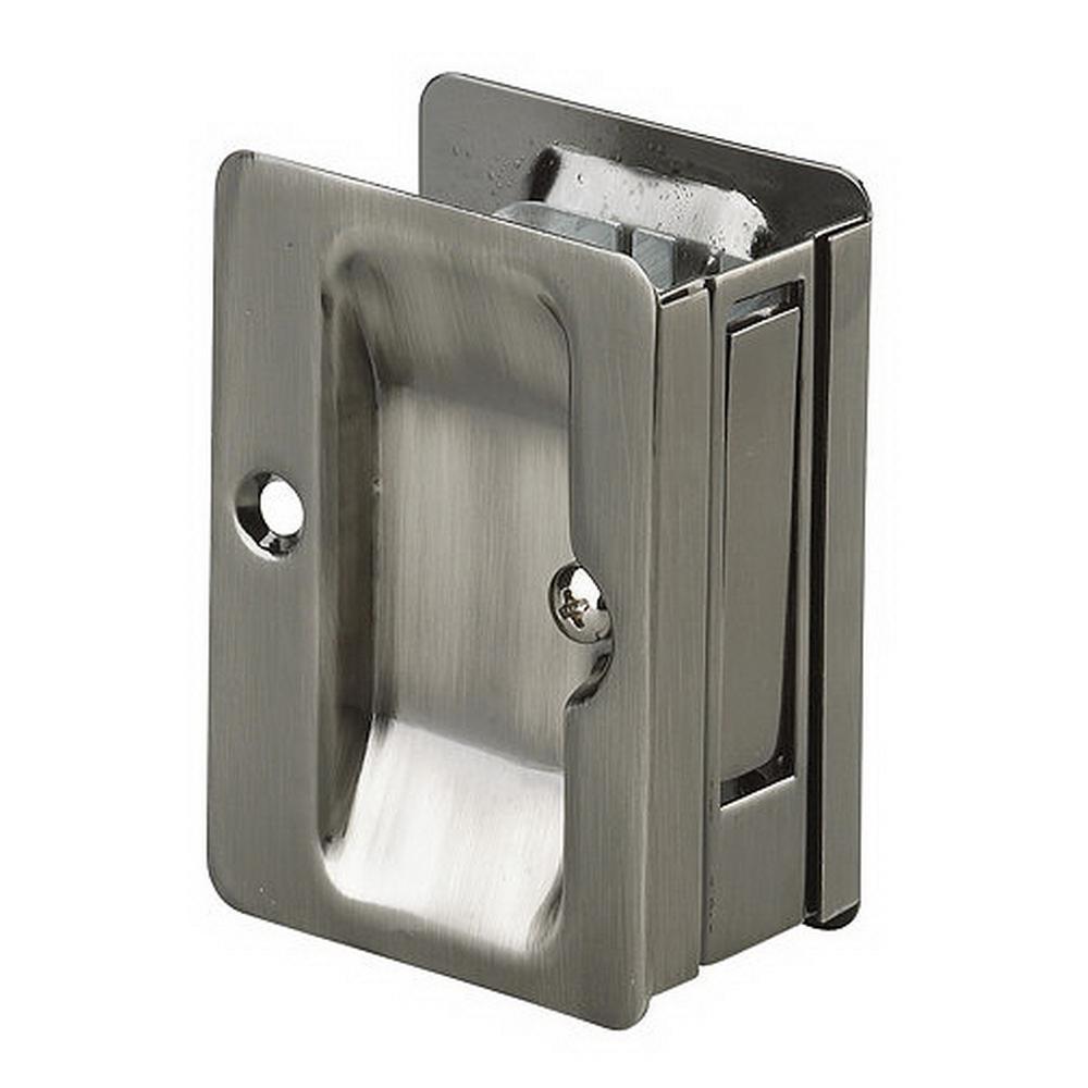 3-7/32 in. Antique Nickel Pocket Door Pull with Passage Handle