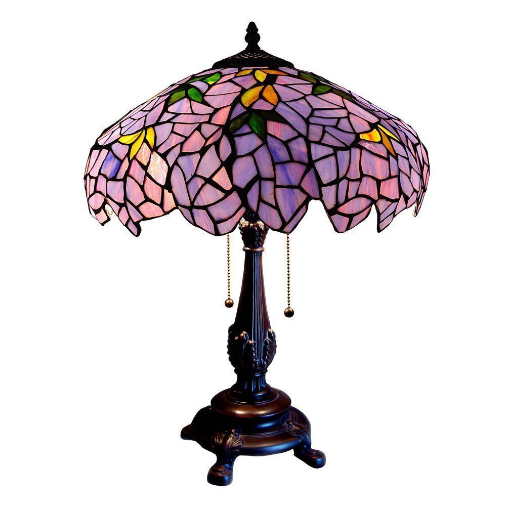 Chloe Lighting Tiffany-style Wisteria 2 Light 16 in. Resin Table Lamp