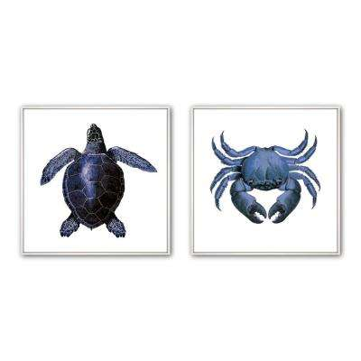 "24 in x 24 in. ""Sea Inverse"" Framed Wall Art (2-Piece)"