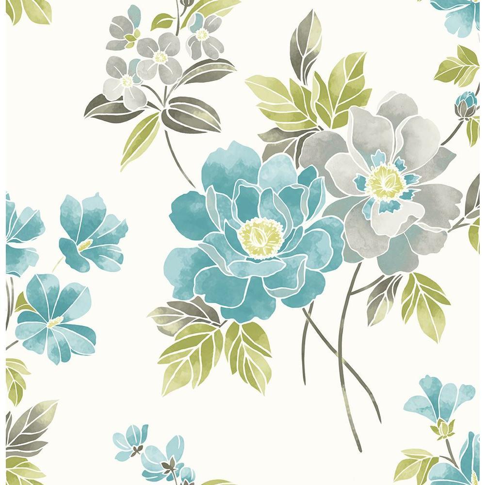 A street claressa teal floral wallpaper sample 2656 - Floral wallpaper home depot ...