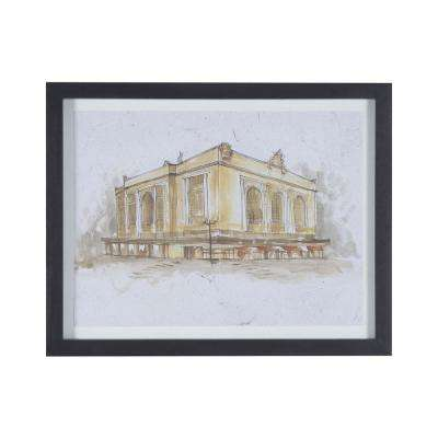 """23 in. x 29 in. """"Grand Central Terminal"""" Hand Painted Framed Wall Art"""