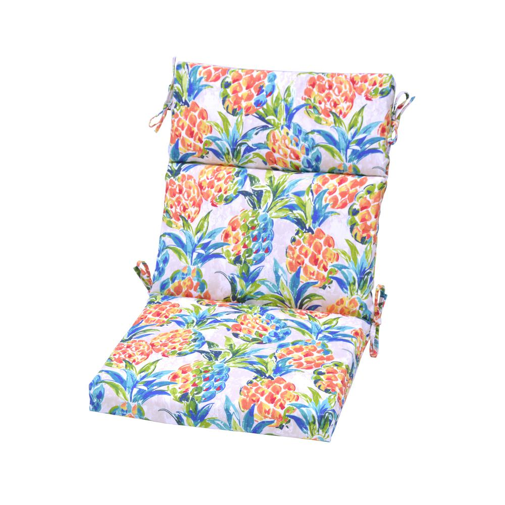 H&ton Bay Pineapples Outdoor High Back Dining Chair Cushion  sc 1 st  The Home Depot & Hampton Bay Pineapples Outdoor High Back Dining Chair Cushion-8718 ...