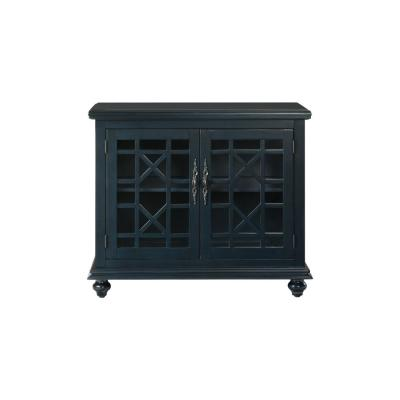 Elegant Blue Glass TV Stand Fits TVs Up to 42 in. with Adjustable Shelves