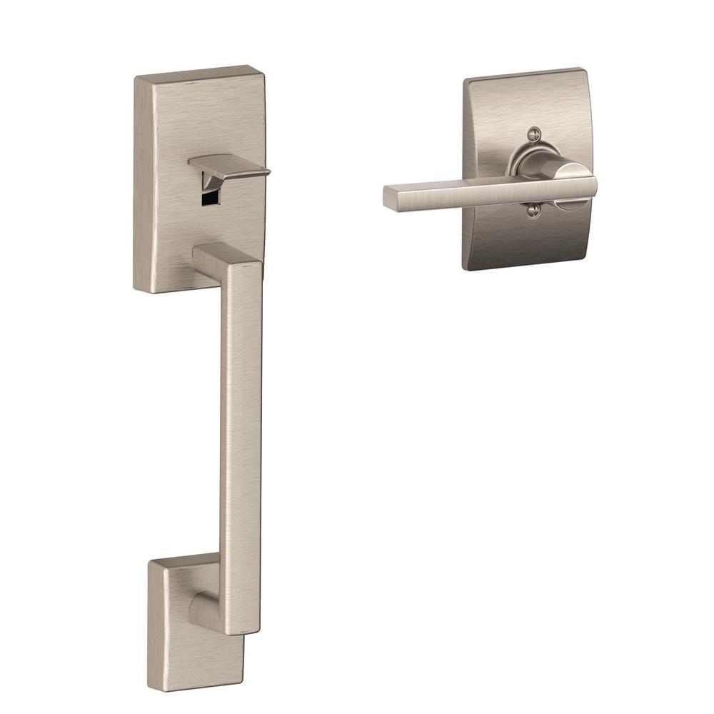Century Satin Nickel Lower Half Entry Door Handleset and Latitude Door Lever with Century Trim