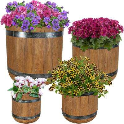 Vineyard Fiber Clay Classic Barrel Durable Indoor/Outdoor Use Planter Flower Pot Set (4-Piece)