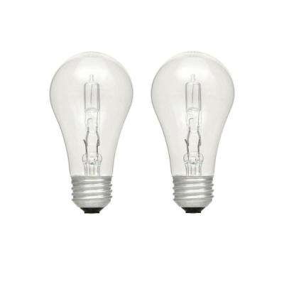 40-Watt Equivalent A19 Dimmable Clear Eco-Incandescent Light Bulb Soft White (2-Pack)