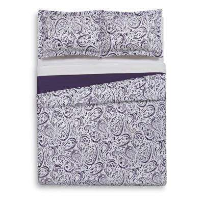 Watercolor Paisley Eggplant Purple Twin Extra Long Duvet Set