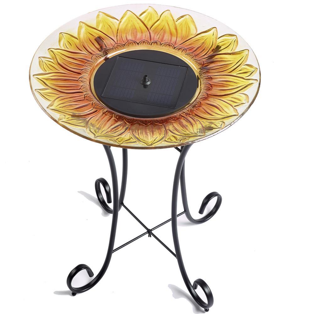 Sunflower Glass Solar Birdbath