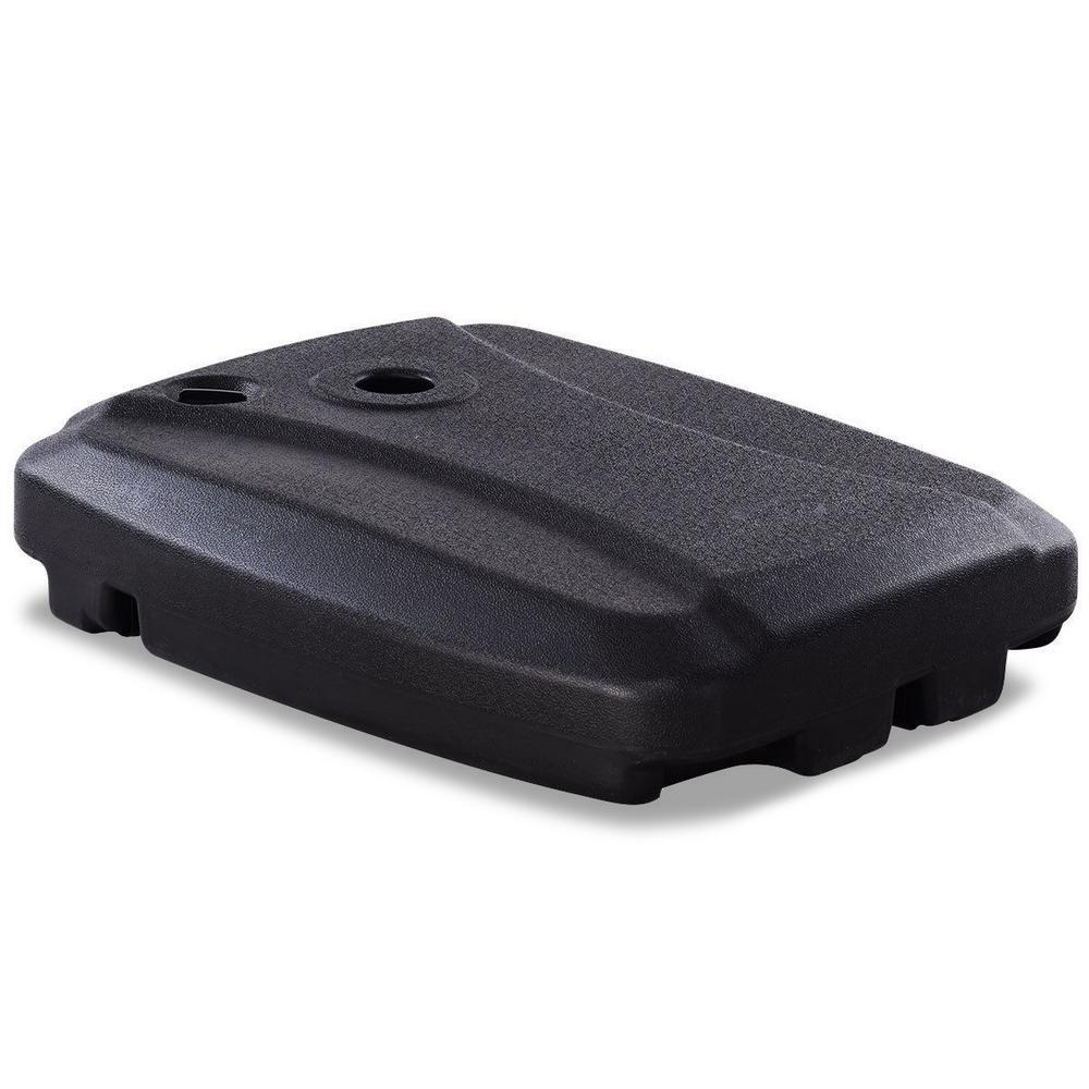 15 lbs. Plastic Fill Water Wheel Patio Umbrella Base in Black